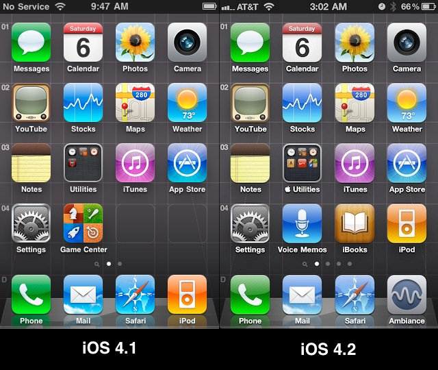 Apple tweaked the home screen icon layout in iOS 4.2
