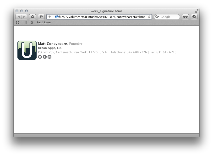 How To Make An Html Signature In Apple Mail For Lion Os X 10 7